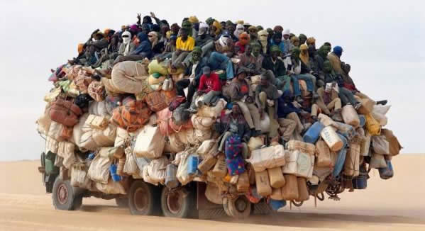 Africans on Truck