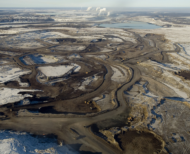 Open pit mining damage from tar sands